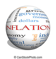 Inflation 3D sphere Word Cloud Concept with great terms such...