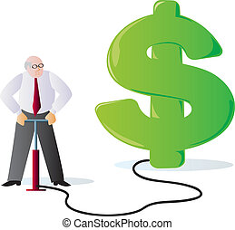 A businessman filling up a dollar sign with air, signifying the concept of inflation.