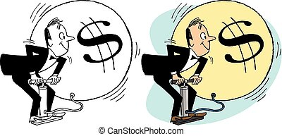 Inflation - A man demonstrates financial inflation by...