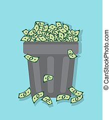 inflation and the depreciation - wastebasket filled with...