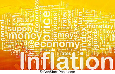 Background concept wordcloud illustration of inflation international