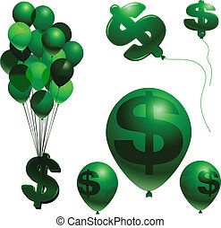 Inflation balloons - Balloon and dollar sign vector...