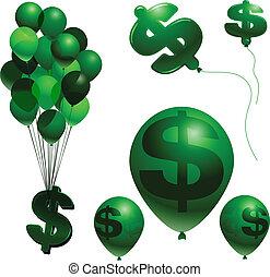 Balloon and dollar sign vector inflation symbols