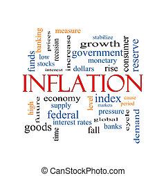 inflation, concept, mot, nuage