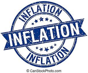 inflation grunge retro blue isolated ribbon stamp