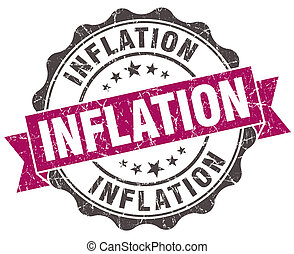 inflation grunge violet seal isolated on white