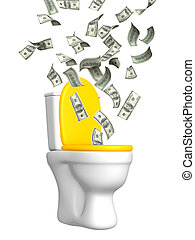 Inflation - money flying in a toilet bowl