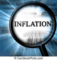inflation on a blue background with a magnifier