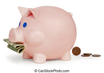 Inflation - Piggy bank eating a dollar and turning it into...