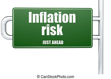 Inflation risk word on green road sign