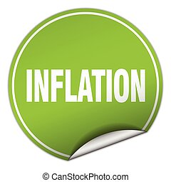 inflation round green sticker isolated on white