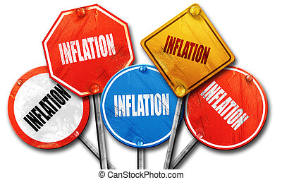 Inflation sign background, 3D rendering, rough street sign colle