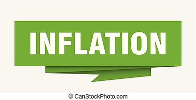 inflation sign. inflation paper origami speech bubble....