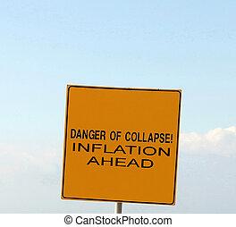 inflation, signe, effondrement, devant, danger