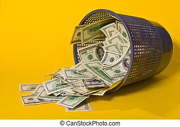 inflation - thousand dollars in the trash can, inflation