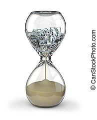 inflation., temps, argent., sablier, dollar.