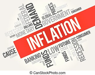 Inflation word cloud collage, business concept background