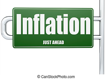 Inflation word on green road sign