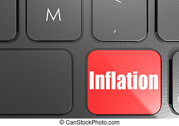 Inflation word on square keyboard button