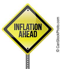 inflazione, avanti, segno