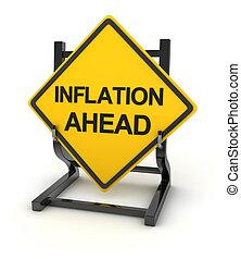 inflazione, -, strada, avanti, segno