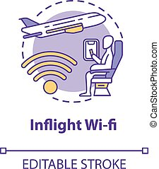 Inflight wifi concept icon. Airplane service. Internet onboard. International wireless coverage. Roaming idea thin line illustration. Vector isolated outline RGB color drawing. Editable stroke