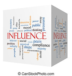 Influence 3D cube Word Cloud Concept with great terms such as example, control, beliefs and more.