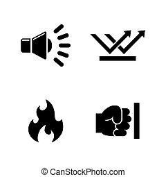 Influence noise. Simple Related Vector Icons