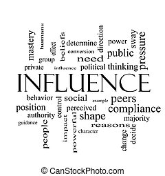 Influence Word Cloud Concept in black and white