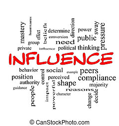 Influence Word Cloud Concept in red caps