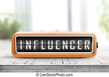 influencer alarm on a wooden table in a bright room