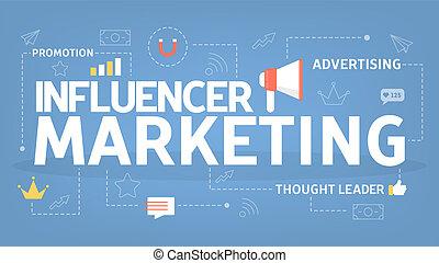 Influencer marketing concept. Promotion in social media