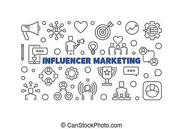 Influencer Marketing vector concept thin line horizontal banner