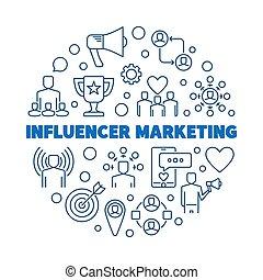 Influencer Marketing vector round concept outline illustration