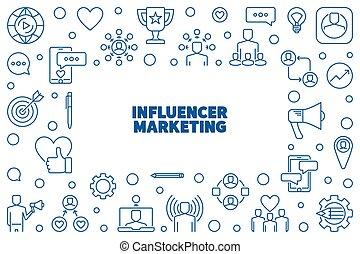 Influencer Marketing vector thin line horizontal frame