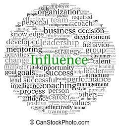influencia, concepto, en, palabra, etiqueta, nube