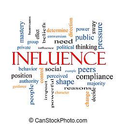 influencia, concepto, palabra, nube