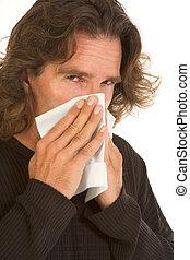 influensa, allergi, påverkat, mitt åldraades, man, med, vävnad