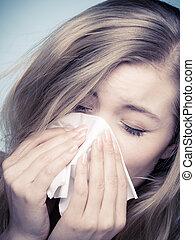 influensa, allergy., sjuk, flicka, nysning, in, tissue., hälsa