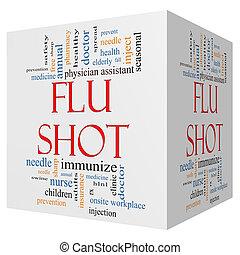 influensa fotograferade, 3, kub, ord, moln, begrepp