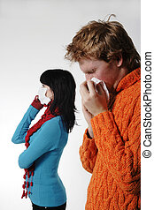 influensa, står, patienten, maskera, bak, kvinna, man