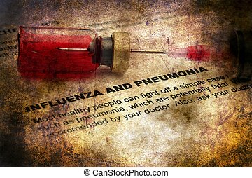 Influenza and pnemonia grunge concept