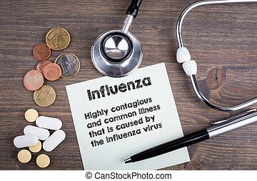 influenza., arbejdspladsen, i, en, doktor., stetoskop, på, træagtigt skrivebord, baggrund