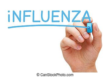 influenza, azul, marcador