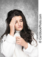 Influenza. Flu. Allergy - Portrait of beautiful sick young...