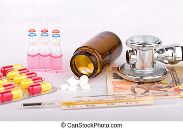Influenza - Glass mercury thermometer colorful pills and ...