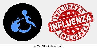 influenza, grunge, sparato, francobollo, invalido, persona, vettore, sigillo, icona