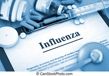 influenza, render., orvosi, diagnosis., concept., 3