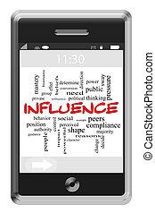 inflytande, ord, moln, begrepp, på, a, touchscreen, ringa