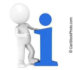 3D little human character pointing at an info symbol. People series.